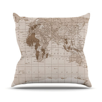 "Catherine Holcombe ""Emerald World"" Vintage Map Throw Pillow"