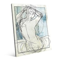 'Woman on Sky' Graphic Art on Glass