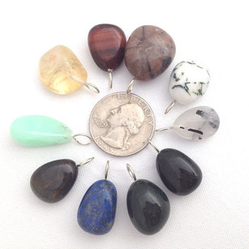 Best tumbled and polished gemstones products on wanelo lot of 10 gemstone pendants assorted polished tumbled stone pendants jewelry making supply mozeypictures Gallery