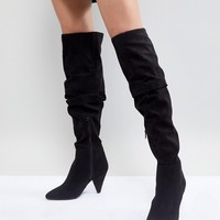 Miss Selfridge Over The Knee Ruched Boot at asos.com