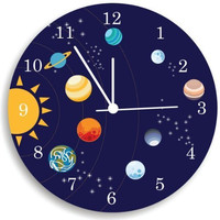 Solar System Wall Clock, Boys Bedroom Clock, Nursery Room Decor