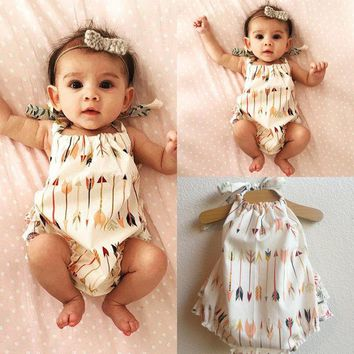 Baby Kids Arrow Printing Casual Loose Summer Rompers Cute Backless Halter Summer Wear One Pieces Baby Jumpsuit Outfits For 0-18M