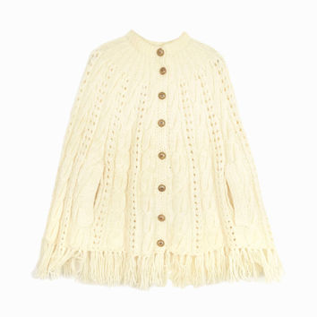 Vintage Fringed Ivory Cable Knit Cape / Sweater Poncho / Winter Wedding Cape