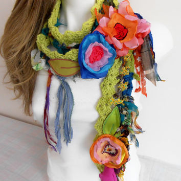Gypsy Scarf, Boho Scarf, Gypsy Crochet Scarf  Hippie Scarf Crochet Scarf, Scarf with applications Gypsy Love, unique items, colorful flowers