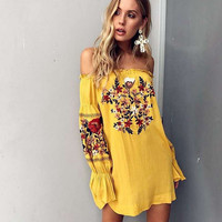 2017 summer new word shoulder embroidery strapless dress puff sleeve folk style holiday female