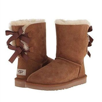PEAP UGG:: bow leather boots boots in tubeb cute two bowknot Chestnut