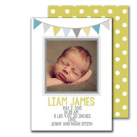 Baby Boy Simple Pennant Banner Blue and Green Digital Printable Birth Announcement card