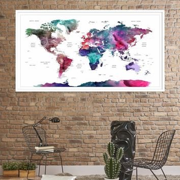 19869 - Large Wall Art World Travel Map Canvas Print - World Map Push Pin Wall Art Canvas Print - Framed Hang on Ready Wall Art Canvas