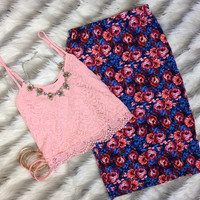 Lace Crop Top: Pink
