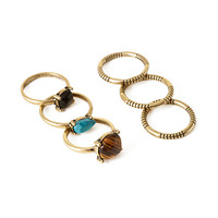FOREVER 21 Faux Turquoise Ring Set Brown/Gold