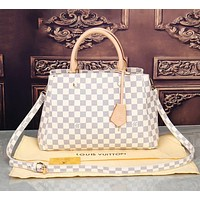 LV Louis Vuitton Hot Sale Women Shopping Bag Leather Tote Handbag Satchel Bag White Tartan