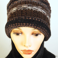 Multicolor winter hat / Brown knit cloche / Grey crochet cap / OOAK winter toque / Womens winter hat / Teen girl hat