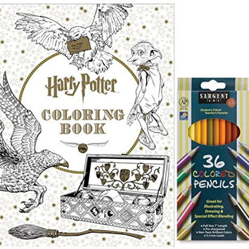 Sargent Art Colored Pencils, Set of 36, and Harry Potter Coloring Book by Scholastic: Stress Relieving Designs to Relax, Mediate and Enjoy!