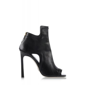 Daniele Michetti Abia Black Leather Boot - Peep Toe Booties - ShopBAZAAR