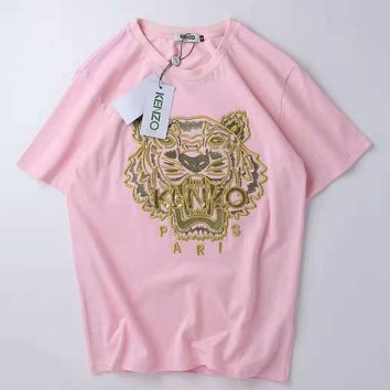 KENZO 2019 new embroidered golden tiger head men and women casual loose round neck T-shirt Pink
