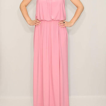 Baby Pink Dress Long Maxi Dress Bridesmaid dress