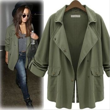 MDIG8H2 Army Green Roll Up Sleeve Trench Coat