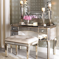Claudia Mirrored Vanity/Desk & Vanity Seat