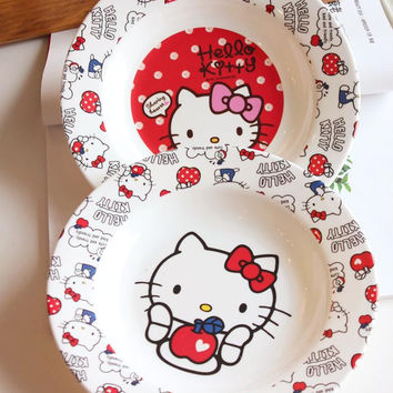 Creative HELLO KITTY design CIRCLE round dinner plate cute children girl dish bread bandeja tray lunch plate brunch plate