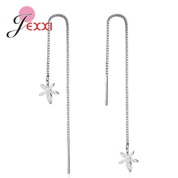 JEXXI Factory Price Long Thin Chain Flower Pendant 925 Sterling Silver Earrings For Women Girls Party Jewelry Accessories