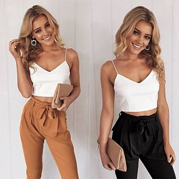 Spaghetti Strap Crop Top Pants Suits V-neck Vest Waist Belt Trousers