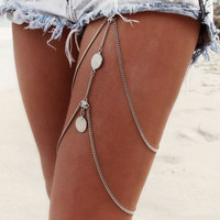 Legs Thigh multilayer chain jewelry Punk alloy chains tassel Anklets Sexy