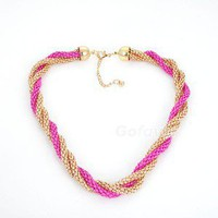 Fashion design Unique Rose Red Twisted Strand Necklace free shipping 1PCS | eBay