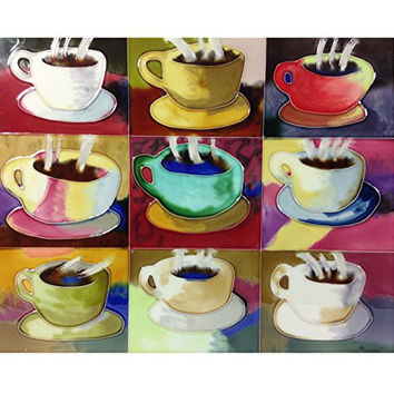 Tile Craft Nine Cups Coffee House Decorative Wall Hanging Tile 11-in x 14-in