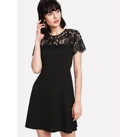 Black Round Neck Short Sleeve Party Dress