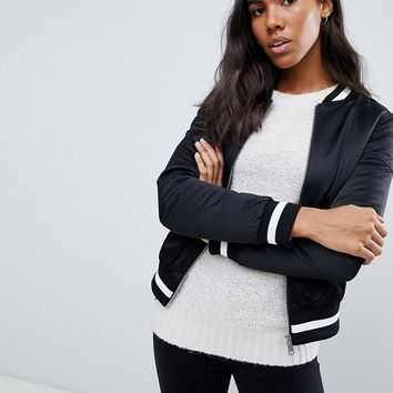 Brave Soul Absolute Bomber Jacket with Stripe Rib Trim at asos.com
