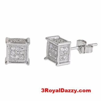 Men Fashion Square Cube Micro Pave CZ .925 Sterling Silver Stud Earrings