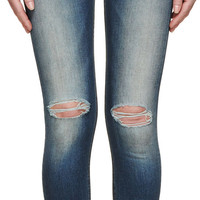Blue Faded Zipper Capri Jeans