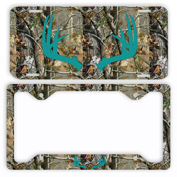 Turquoise Antlers Camo Deer License Plate Frame Car Tag Country Hunting