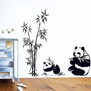 New Bamboo Panda Wall Stickers for Rooms Decor
