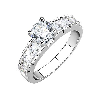 Elizabeth - Women's Brass Rhodium Plated Clear CZ Engagement Ring
