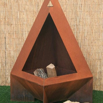 Chiminea - Modern Fire Pit - Steel, Enclosed Fire Pit - Backyard Decor - Rustic Chiminea - Metal Chiminea - Steel Garden Sculpture