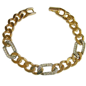 Curb Chain Bracelet Gold Silver Tone with Rhinestones Signed Goldette