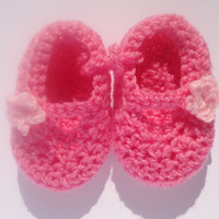 Crocheted pink double soled baby shoes, slippers, booties. Two shades of pink with flower trim. Baby gift. Baby stuff