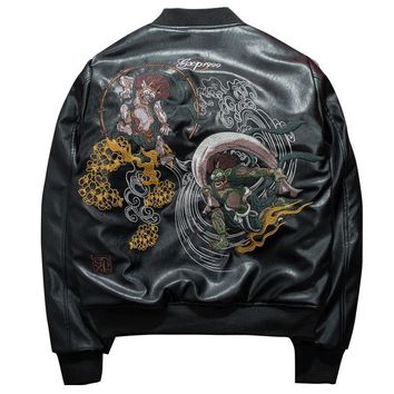 Men embroidery flight suit PU leather jacket