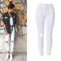 White Knee Hole Design Double Pocket Trousers