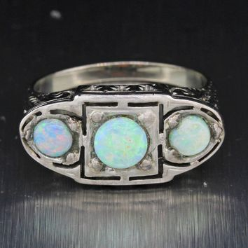 1930s Antique Art Deco Estate Solid 18k White Gold 1.00ctw Opal Ring
