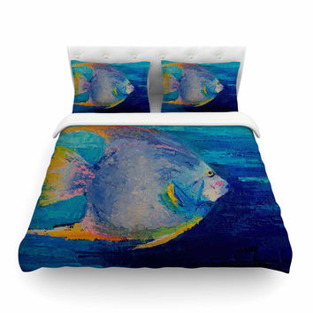 "Carol Schiff ""Tropical Fish II"" Blue Pink Painting Featherweight Duvet Cover"