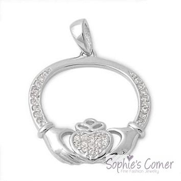 Diamond Irish Claddagh Pendant Necklace