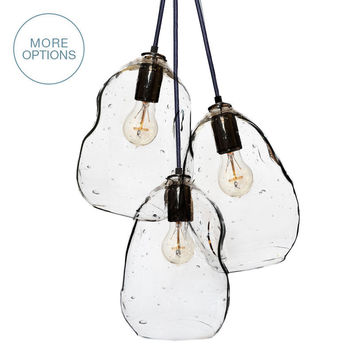 Bubble Hand Blown Glass Cascade Pendant Chandelier