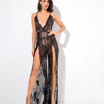 Zane- Black Flower Sequins Deep V-Neck Open Back Jumpsuit