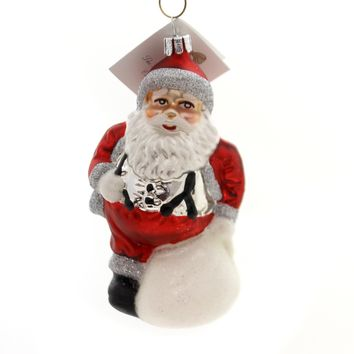 Golden Bell Collection Santa With White Bag Glass Ornament