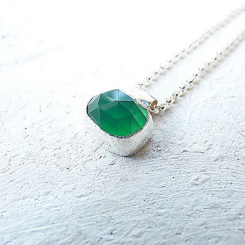 Emerald green necklace - green onyx necklace - sterling silver necklace - made to order