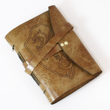 Mini dragon leather bound journal in Italian antiqued leather