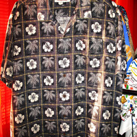 Amazing Vintage Hawaiian Shirt TOMMY BAHAMA  Tropical Flowers Camp 100% Silk Size L  Very Collectible