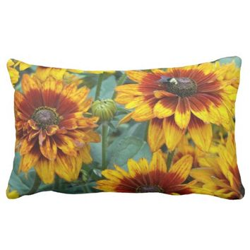 Golden Rudbeckias Floral Photo Lumbar Throw Pillow